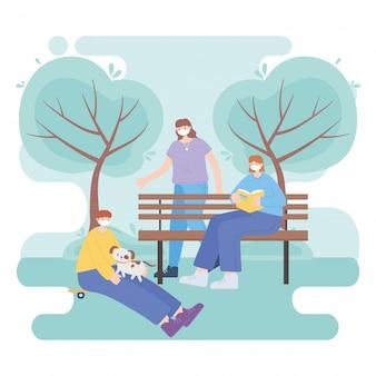 Menschen mit medizinischer gesichtsmaske, personen mit haustier, lesebuch, spaziergang in der stadt aktivität während coronavirus