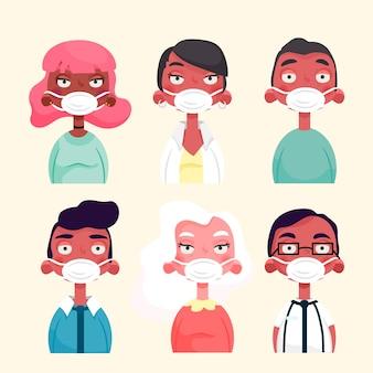 Menschen mit medizinischer maske