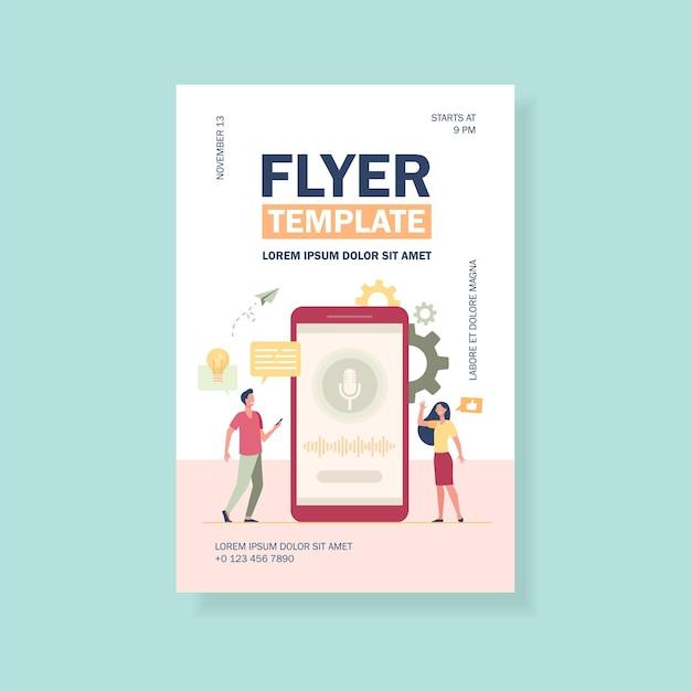 Menschen mit mobiltelefonen, die smart fly assistant software flyer vorlage verwenden