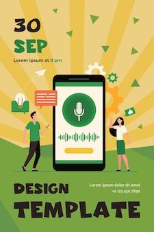 Menschen mit mobiltelefonen, die smart voice assistant-software verwenden