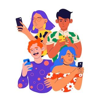 Menschen mit mobiltelefonen mittlerer schuss
