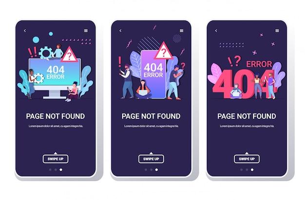 Menschen mit online-app 404 seite nicht gefunden konzept internetverbindung problem nachricht website im bau smartphone-bildschirme in voller länge horizontal eingestellt
