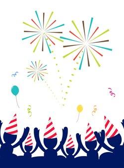 Menschen mit partyhut feiern auf party mit feuerwerk, happy new year party