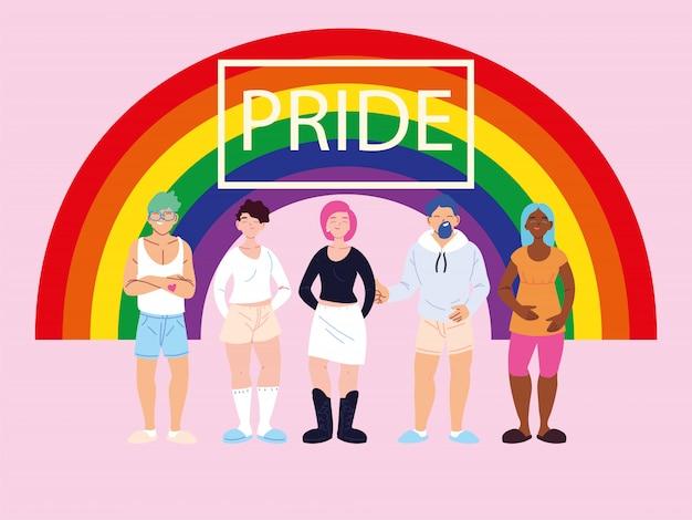 Menschen mit regenbogen, homosexuell stolz symbol
