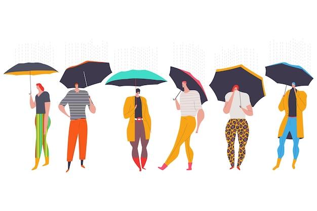 Menschen mit regenschirm, der unter den regenkarikaturfiguren geht, lokalisiert auf einem weißen hintergrund.