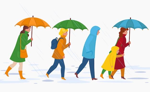 Menschen mit regenschirm, die unter dem regen spazieren gehen. flacher herbstkarikatur.