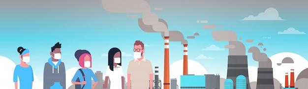 Menschen mit schutzmasken gegen verschmutzung
