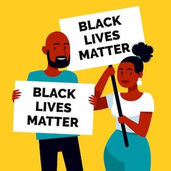 Menschen mit schwarzen lebenstafeln
