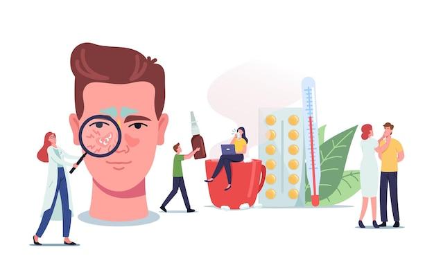 Menschen mit sinusitis-krankheitskonzept. winzige ärzte oder patienten-charaktere am riesigen männlichen kopf mit sinushöhlenentzündung aufgrund von influenza-kälte, allergie, naseninfektion. cartoon-vektor-illustration