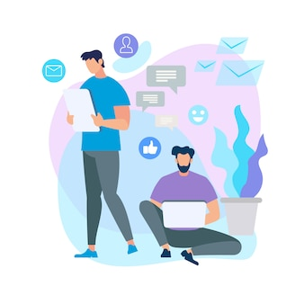 Menschen mit smartphone-geräten verbinden