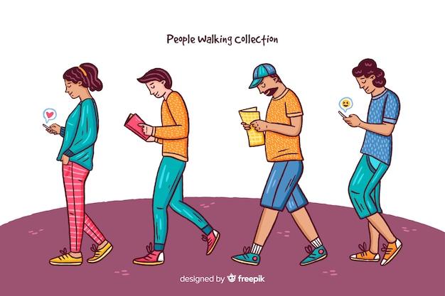 Menschen mit smartphone-sammlung