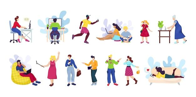 Menschen mit smartphones, digitale geräte eingestellt von. mann und frau unter verwendung des technologie-gadget-smartphones, des mobiltelefons oder des tablets in den kommunikationsmedien des sozialen netzwerks.