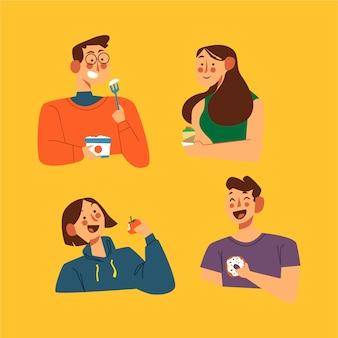 Menschen mit snacks essen