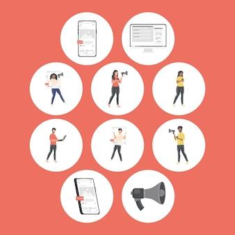 Menschen mit social-media-symbolen