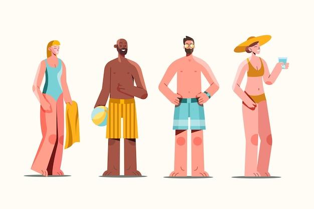 Menschen mit sommerkleidung packen