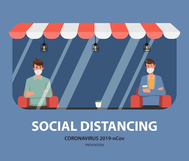 Menschen mit sozialem distanzierungskonzept sitzen weg, um das covid-19-coronavirus zu verhindern.