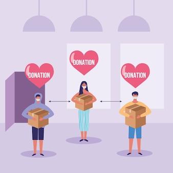 Menschen mit spendenbox im haus der wohltätigkeitskarikaturillustration