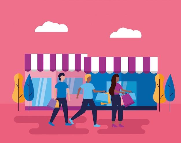 Menschen mit taschen einkaufen