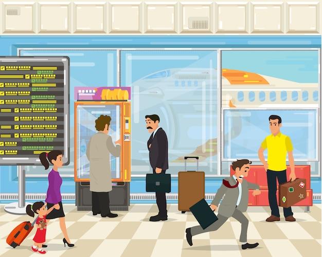 Menschen mit taschen und koffern im flughafenterminal.