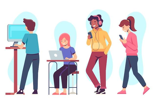 Menschen mit technischen geräten virtuelle aktivitäten