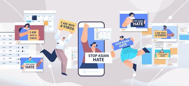 Menschen mit textplakaten, die gegen rassismus protestieren. stoppen sie asiatischen hass. unterstützung während der covid-19-pandemie