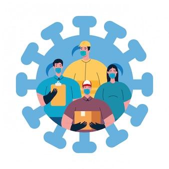 Menschen mit uniformen und arbeitsmasken der coronavirus-arbeiter-themenillustration