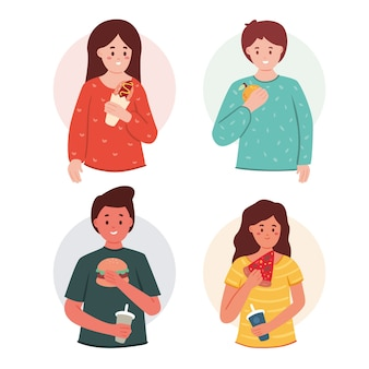 Menschen mit unterschiedlichem essen