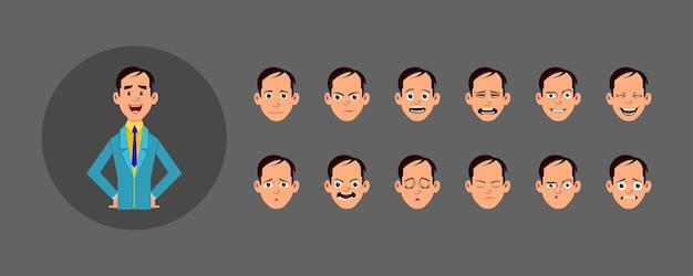 Menschen mit unterschiedlichem gesichtsausdruck eingestellt. verschiedene gesichtsemotionen für benutzerdefinierte animation, bewegung oder design.