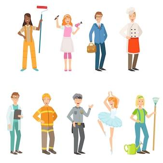Menschen mit unterschiedlichen berufen in klassischen outfits set