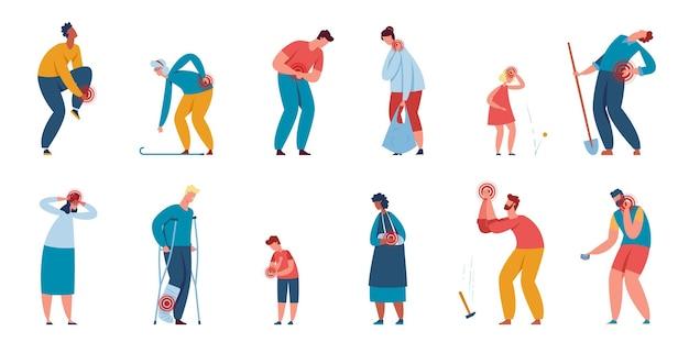 Menschen mit verletzungen oder gelenkschmerzen, charaktere mit schmerzen. männer und frauen mit kopfschmerzen, verletztem bein oder schmerzendem nackenvektorsatz. erwachsene mit gebrochenem arm und bein an krücken