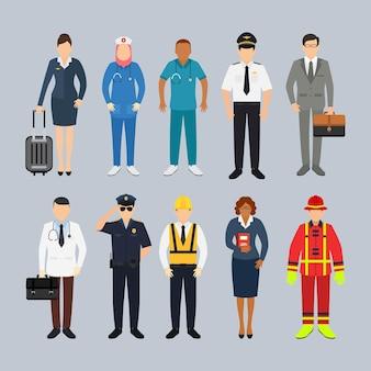 Menschen mit verschiedenen berufscharakterillustrationen