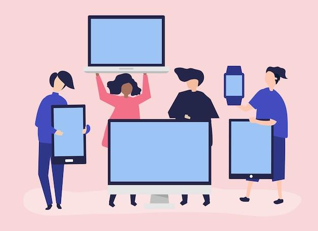 Menschen mit verschiedenen digitalen geräten