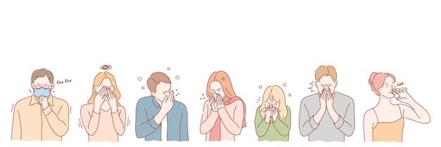 Menschen mit viraler krankheit setzen konzept