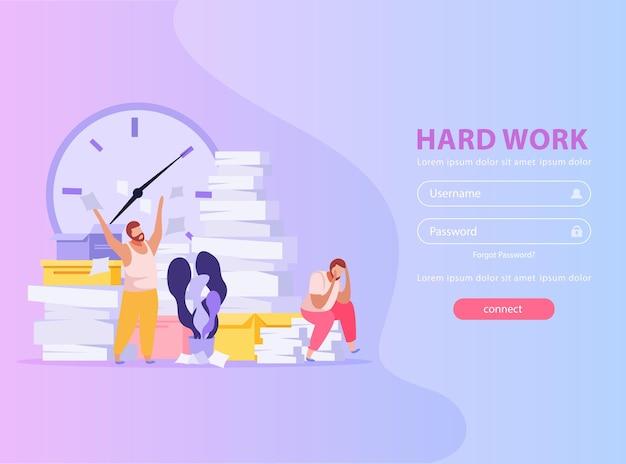Menschen müde von harter arbeit mit papierstapeln flache illustration mit login-web-formular
