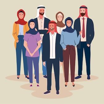 Menschen muslime tragen turban und hijab
