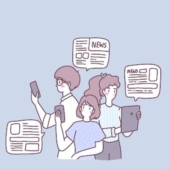 Menschen nutzen smartphones, um nachrichten in ihrem täglichen leben zu erhalten.