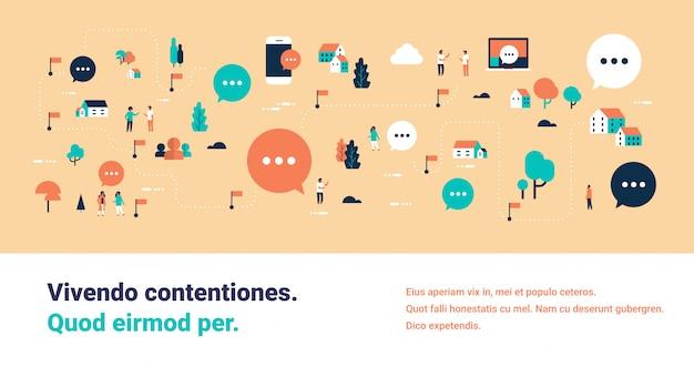 Menschen, online, blase, chat, sprache, kommunikation, karte, isometrisches konzept computer mobile internetanwendung illustration