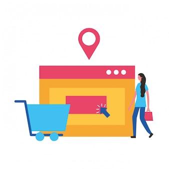 Menschen online einkaufen