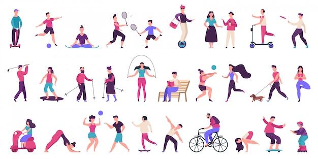 Menschen outdoor-aktivitäten. aktiver, gesunder lebensstil, joggen, laufen, rollschuhe, fahrrad- und inlineskaten-illustrationsikonen gesetzt. menschen aktivität im freien, yoga volleyball und golf