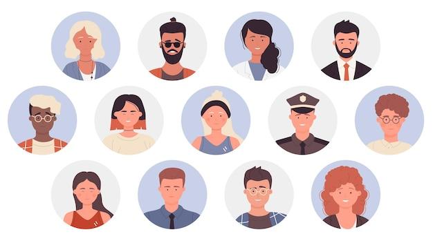 Menschen profilieren avatare verschiedener berufe mann frau berufstätige porträts