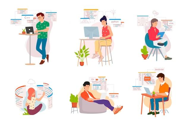 Menschen programmierer arbeiten an einem computer