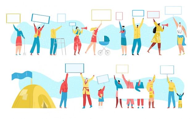 Menschen protestieren gegen menschenmenge, demonstration, öffentlicher streik, protestieren gegen marsch mit leeren s für ihren text, illustrationssatz. revolution, demonstrantengruppen, wirtschaftskrise.