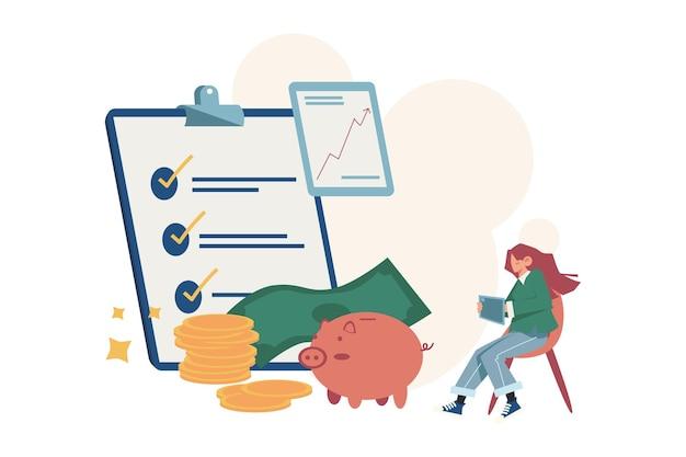 Menschen recherchieren finanzplan