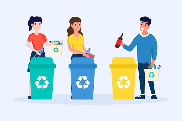 Menschen recyceln pack