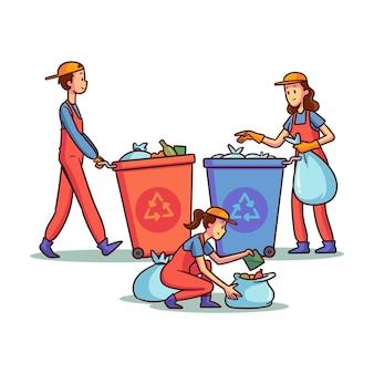 Menschen recyceln
