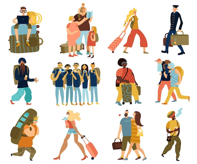 Menschen reisen isolierte ikonen, die mit karikaturgruppen von reisenden touristen verschiedener rassen und nationalitäten flache vektorillustration gesetzt werden
