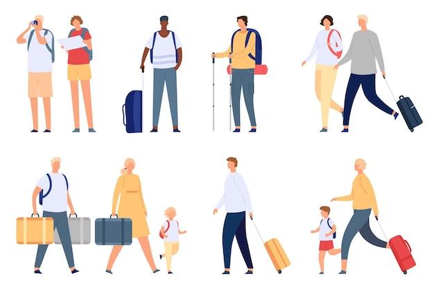 Menschen reisen. touristenpaare, familien und kinder mit koffer, tasche, karte und kamera. flughafenpassagier mit gepäck im urlaubsvektorsatz. illustrationspaarleute fahren mit koffer in den urlaub