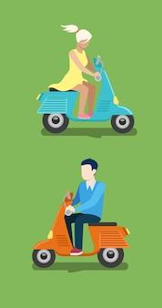 Menschen reiten moped kreative flache design illustration set. junger mann in lässiger und frau im kleid fahren blau orange roller seitenansicht auf grünem hintergrund.