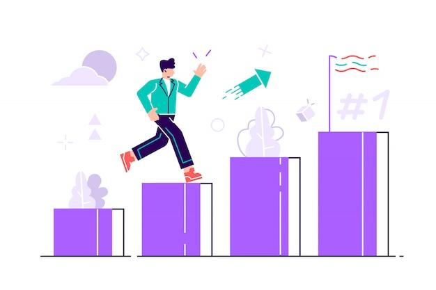 Menschen rennen auf der säulenspalte zu ihrem ziel. motivation steigern.