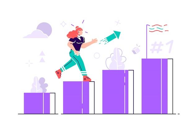Menschen rennen zu ihrem ziel in der spalte der spaltenillustration. motivation steigern